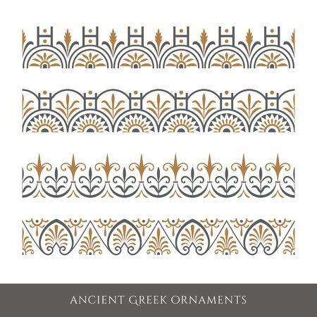 Set of decorative ancient greek seamless ornamental border