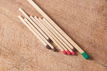Greater, long match and small matches on a wooden surface Stock Photo - 13658277
