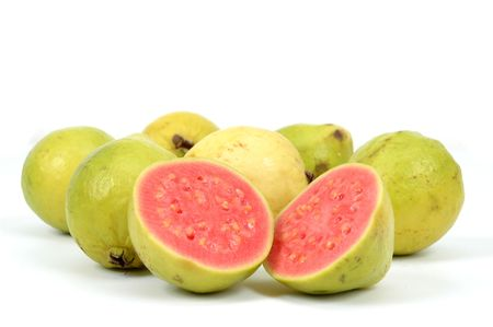 Guava Fruit over white background . .