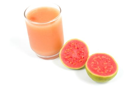 Juice of Guava Fruit over white background photo