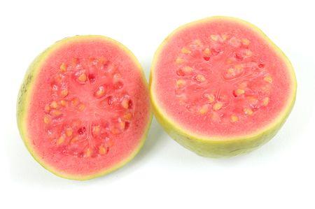 guayaba: Fondo del blanco del excedente de la fruta de guayaba. .