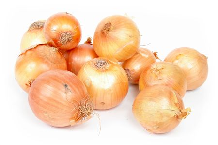 the caustic: Onion vegetables over white background