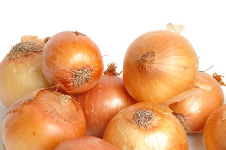 strong roots: Onion vegetables over white background