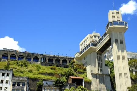 View of Lacerda Elevator, famous post card of Salvador de Bahia, Brazil