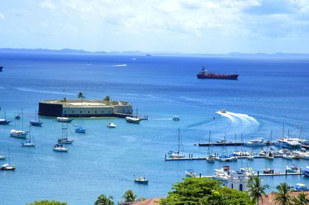 San Marcelo Fortress - Famous tourist point in Salvador - Bahia - Brazil Stock Photo