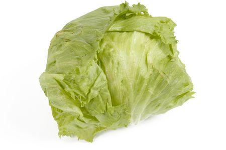 crisp: Vegetable Lettuce head over white Stock Photo