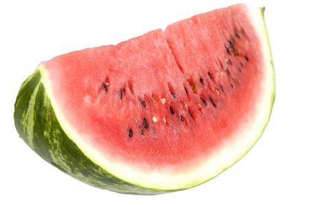 Piece of Watermelon over white - isolated photo