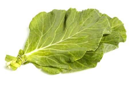Vegetable collard greens over white background Stock Photo - 838340