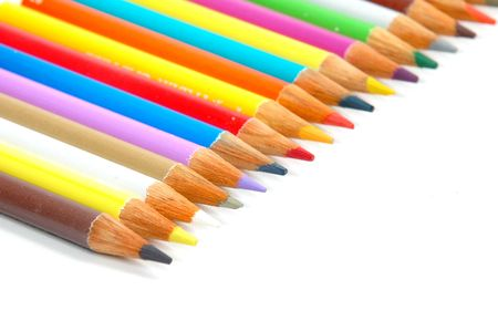 Color Pencil crayons in a line . photo