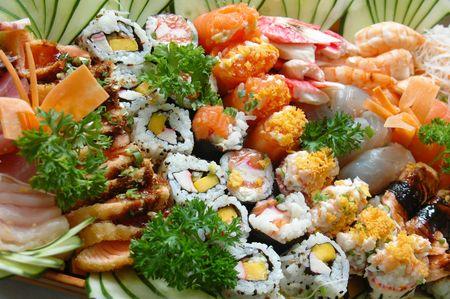 Combination of sushi - Japonese food . Stock Photo