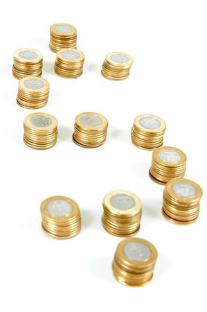 pillage: Money Sign from brazilian real coins . Stock Photo