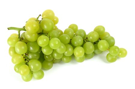Beautiful bunch of green grapes over white background. Stock Photo