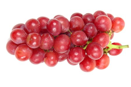 Beautiful bunch of purple grapes over white background.