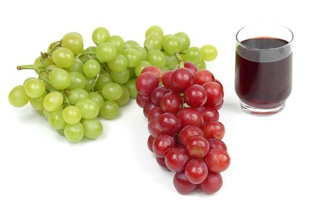 Grape Juice and grapes over white background. Stock Photo - 838797