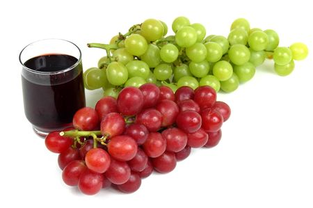 Grape Juice and grapes over white background. Stock Photo - 838668