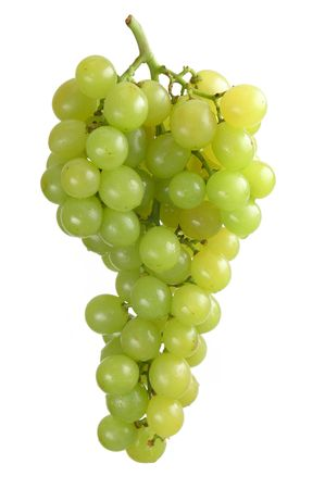 Beautiful bunch of green  white grapes over white background.