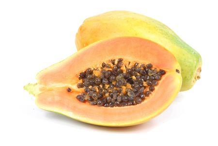 Papayamarktfruchtüberschuss-Weißhintergrund Standard-Bild