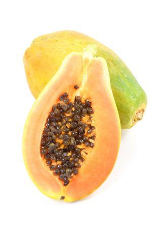 Papaya market fruits over white background Stock Photo