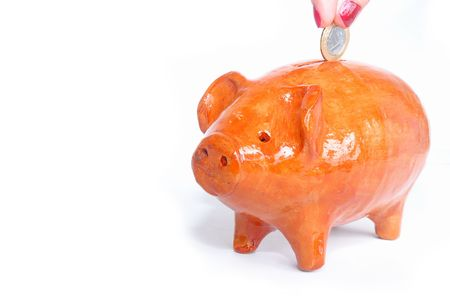 Mud Pig Bank for a lot coins . . . (Children Bank) Stock Photo - 848025