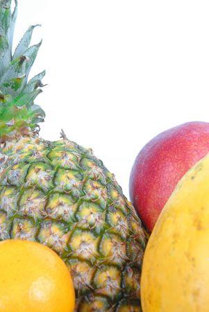 Frutas - piña, mango, naranja y papaya Antecedentes  Foto de archivo - 845860