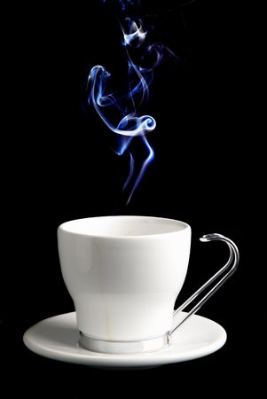 White Cup of Coffee or Tea (you choose) .  Stock Photo