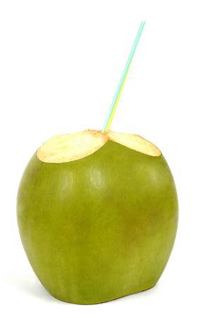 fr�chte in wasser: Green Coconut isoliert auf wei�em Hintergrund Lizenzfreie Bilder
