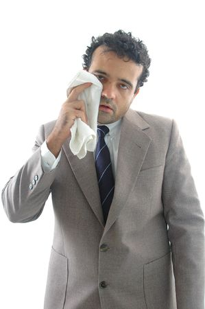 perspiration: Exhausted businessman, drying the perspiration Stock Photo