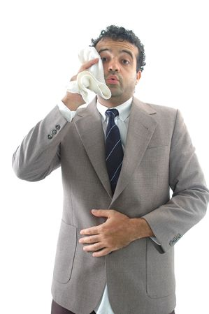 perspiration: Exhausted businessman, drying the perspiration with the towel Stock Photo