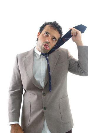 suffocating: Suicidio soffocante uomo con la cravatta.  Archivio Fotografico