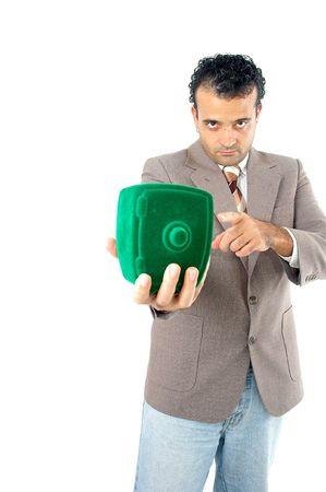 Man showing his safe savings . Stock Photo - 981658