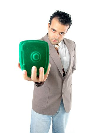 Man showing his safe savings . Stock Photo - 981659