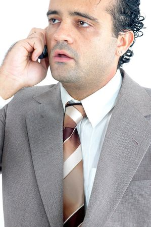 Business man with mobile over white Stock Photo - 981660