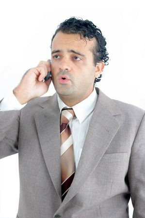 Business man with mobile over white Stock Photo - 981661