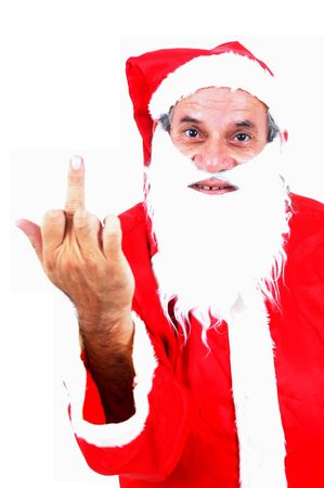rude: Rude Santa Claus showing the middle finger. Stock Photo