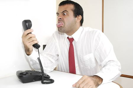 annoying: Biznesmen na telefon Zdjęcie Seryjne