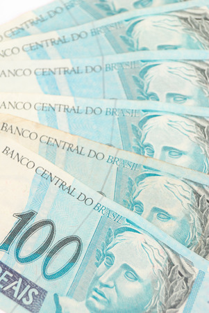 Hundreds of Brazilian real currency background  photo