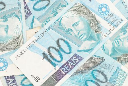 hundreds: Hundreds of Brazilian real currency background . Stock Photo