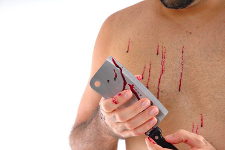 Man holding a cleaver with blood . Stock Photo - 1621018