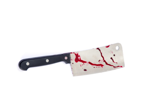Cleaver - kitchen knife - with blood isolated on white Stock Photo