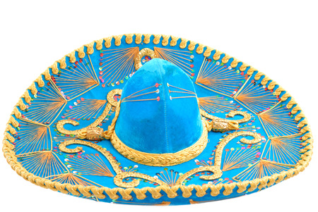 traje mexicano: Mariachi sombrero mexicano sobre fondo blanco.