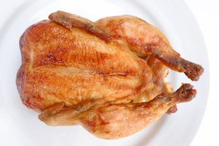 Tasty Crispy Roast Chicken on white plate . Stock Photo - 1647993