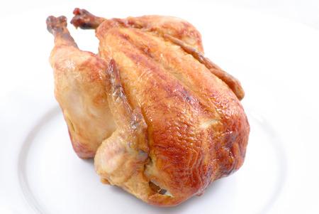 turkey hen: Sabroso pollo asado completo en blanco placa.