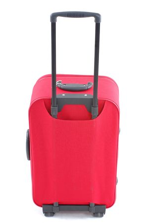 luggage pieces: Red travel bag - suitcase on white .