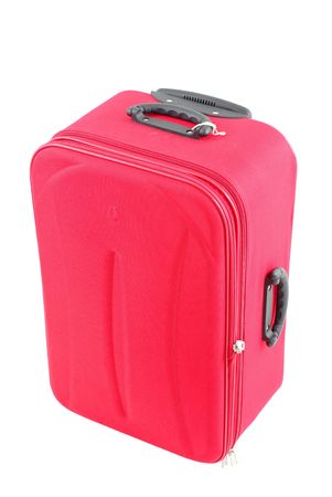 Red travel bag - suitcase on white . Stock Photo - 1827654
