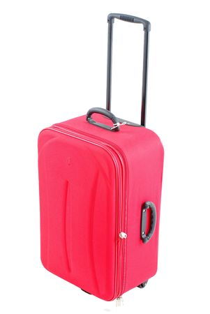 piece of luggage: Red travel bag - suitcase on white .