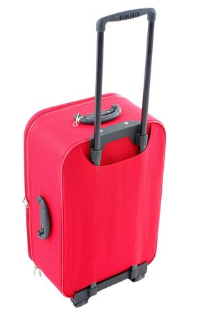 Red travel bag - suitcase on white . Stock Photo - 1827652