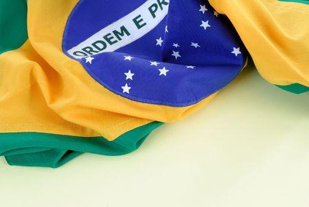 Photo of Brazil Republic National flag .  Stock Photo