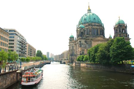 Berlin cathedral and Spree River on white .