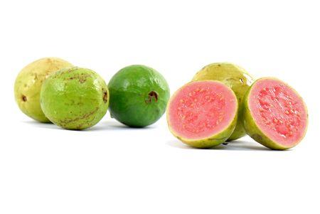 guava: Fresh Guava fruit over white background .