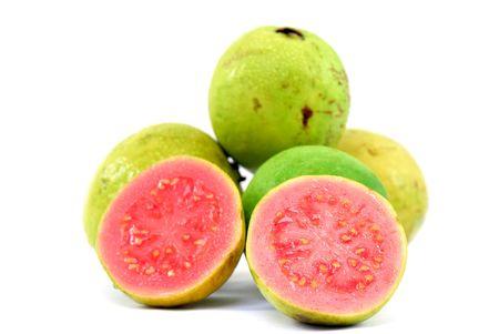 Fresh Guavas fruit over white background .